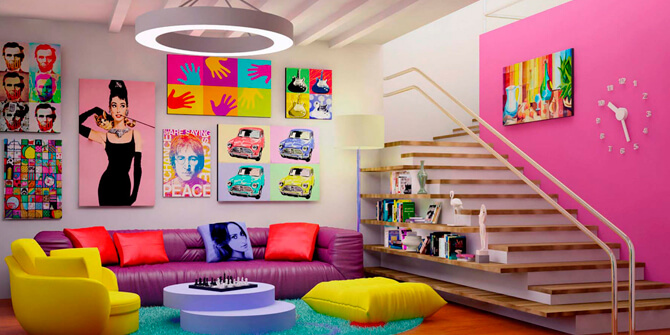 Decoración salón retro estilo pop art kitsch