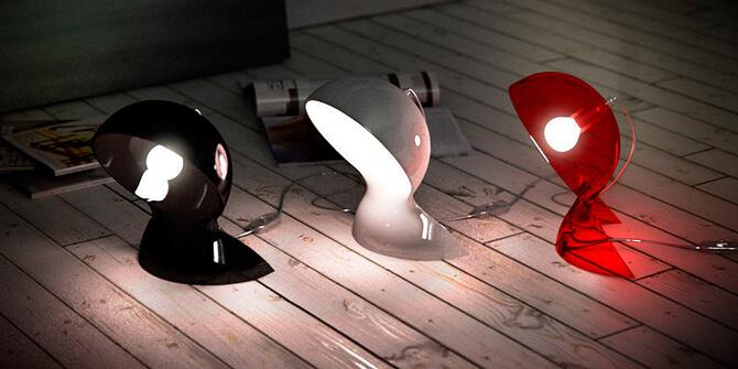 Familia retro Dalu de Artemide con acabados en color rojo, blanco y negro