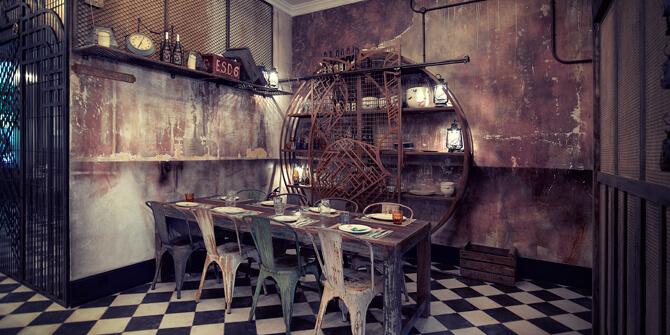 Comedor estilo industrial desgastado tonos grises y marrones