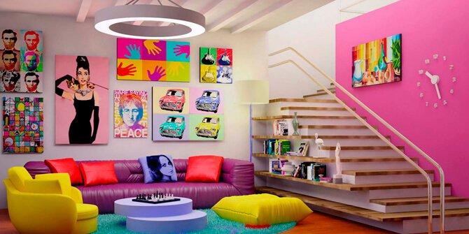 Decoración salón retro estilo pop art kitsch