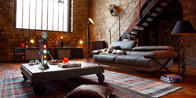 Salón retro loft al estilo industrial