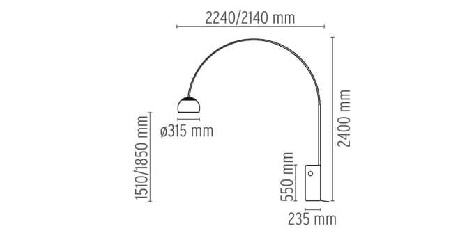 Dimensiones de la lámpara de pie ARCO