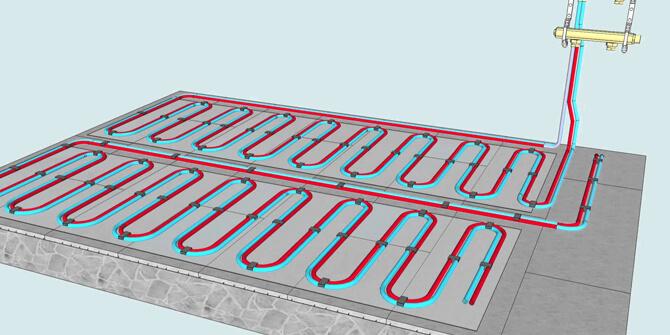 Ilustración suelo radiante por agua