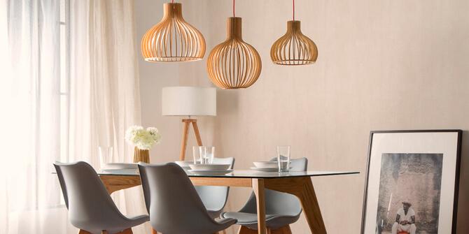 Lámparas estilo madera