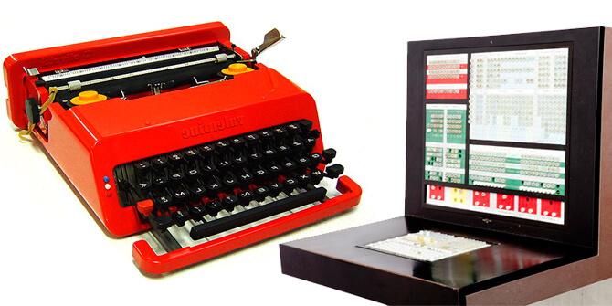 Computadora Mainframe ELEA 9003 y Máquina de escribir portátil VALENTINE
