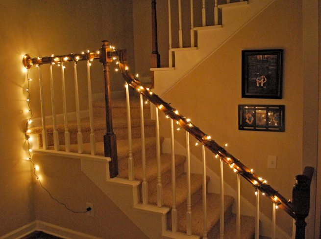 Escaleras decoradas- iluminación navideña