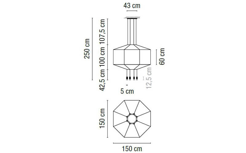 Dimensions od Vibia WIREFLOW 0299 hanging lamp
