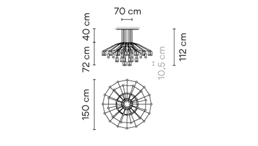 Dimensions od WIREFLOW CHANDELIER 0376 hanging lamp