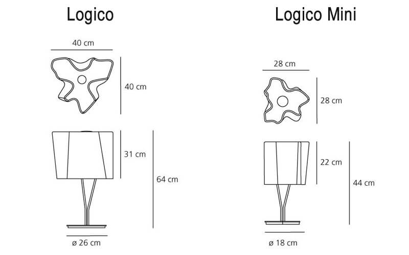Dimensions od Artemide LOGICO table lamp