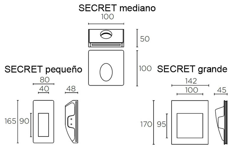 Dimensiones de Lámpara pared SECRET Leds C4