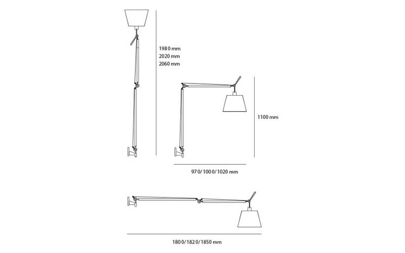 Dimensiones de Lámpara pared Tolomeo Mega Wall Artemide