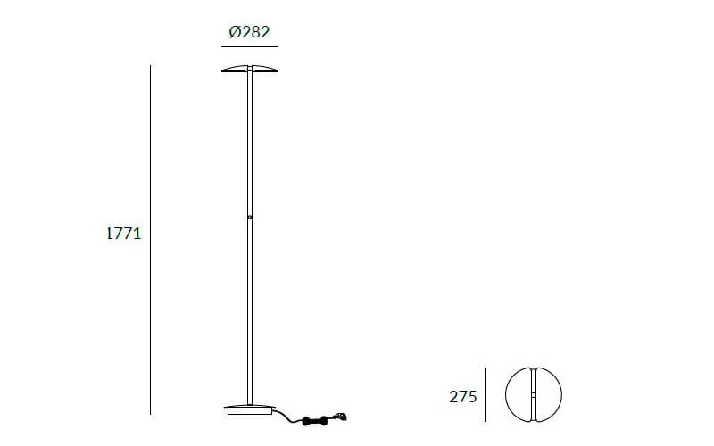 Dimensions od Leds C4 DELUXE floor lamp