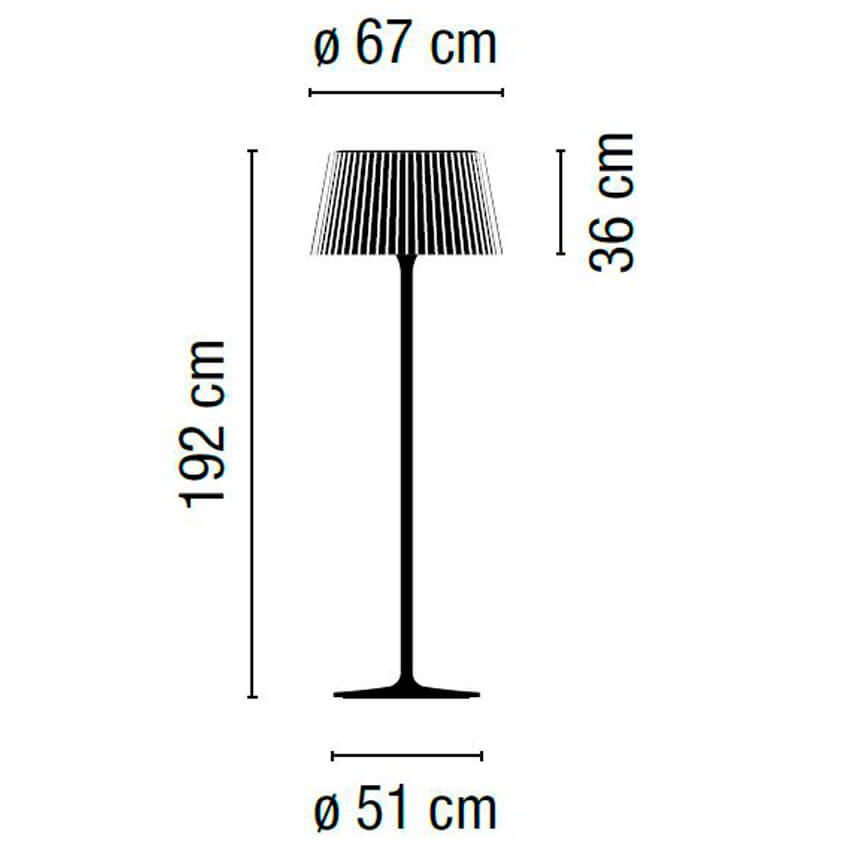 Dimensions od Vibia PLIS outdoor floor lamp