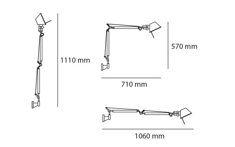 Dimensiones de Lámpara pared TOLOMEO MINI WALL Artemide