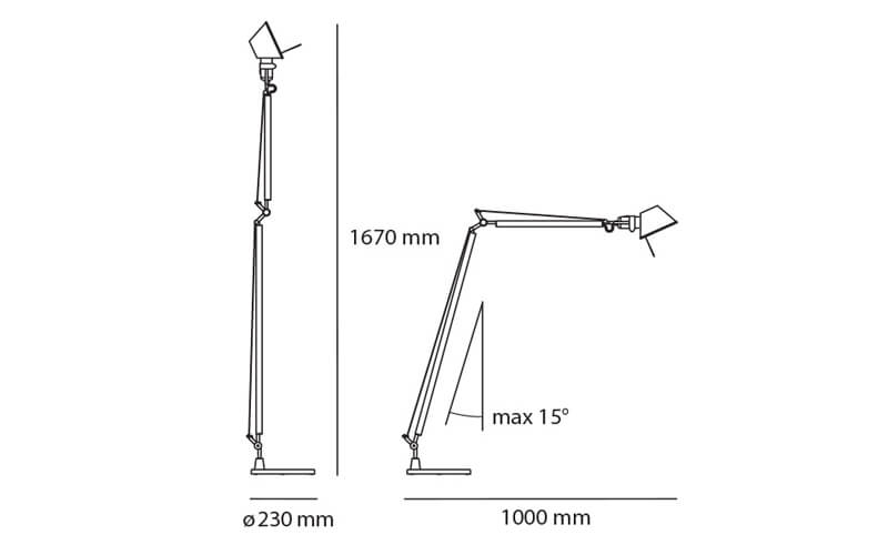 Dimensiones de Lámpara pie TOLOMEO READING FLOOR Artemide