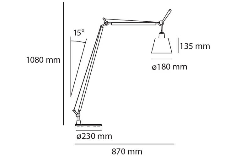 Dimensiones de Lámpara pie TOLOMEO BASCULANTE READING FLOOR Artemide