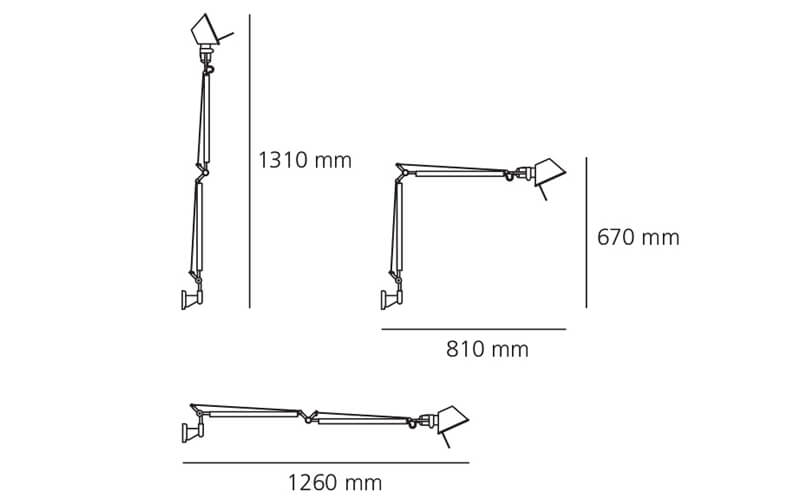 Dimensiones de Lámpara pared TOLOMEO WALL Artemide