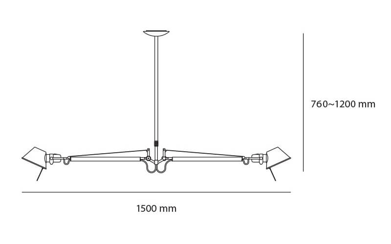 Dimensions od Artemide TOLOMEO DUE BRACCI suspension lamp