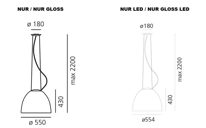 Dimensions od Artemide NUR suspension lamp
