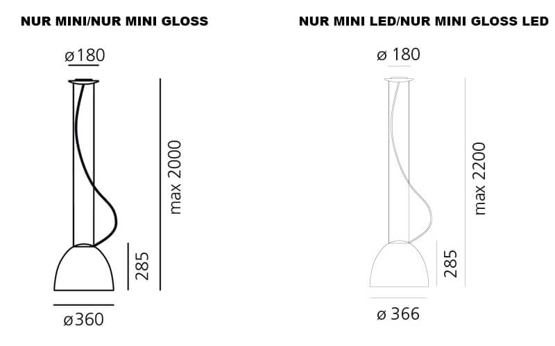 Dimensions od Artemide NUR MINI suspension lamp
