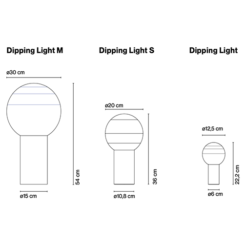 Dimensions od Marset - DIPPING LIGHT table lamp