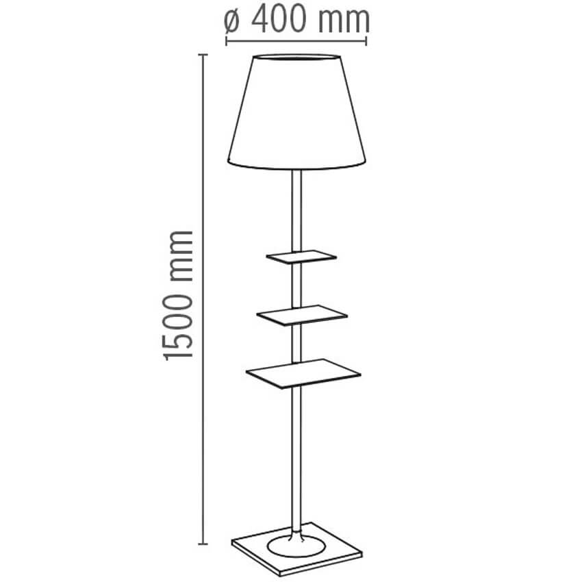 Dimensions od Flos BIBLIOTHEQUE NATIONALE floor lamp