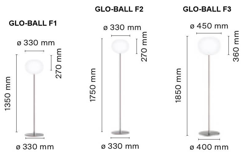 Dimensiones de Lámpara pie GLO-BALL F Flos