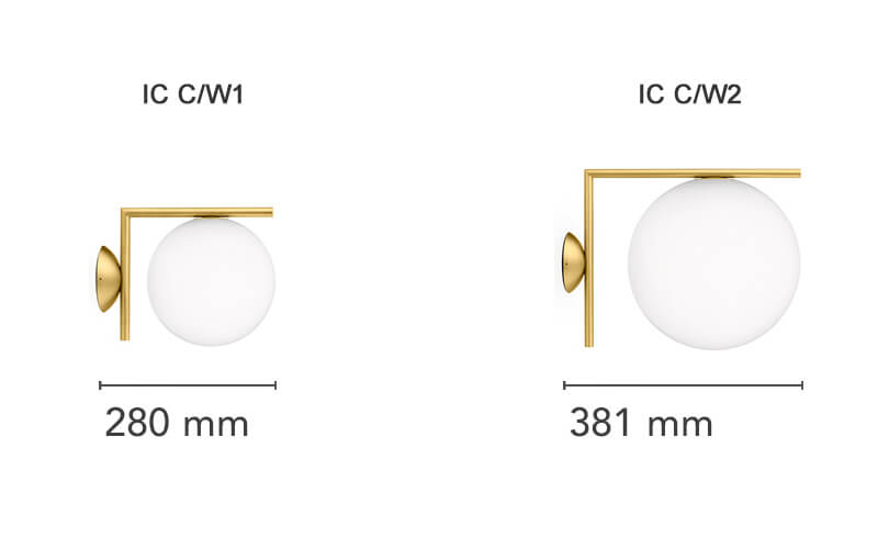 Dimensions od Flos IC C/W ceiling/wall lamp