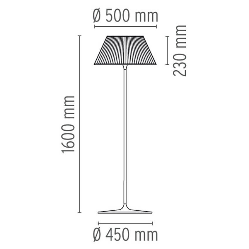Dimensions od Flos ROMEO MOON F floor lamp