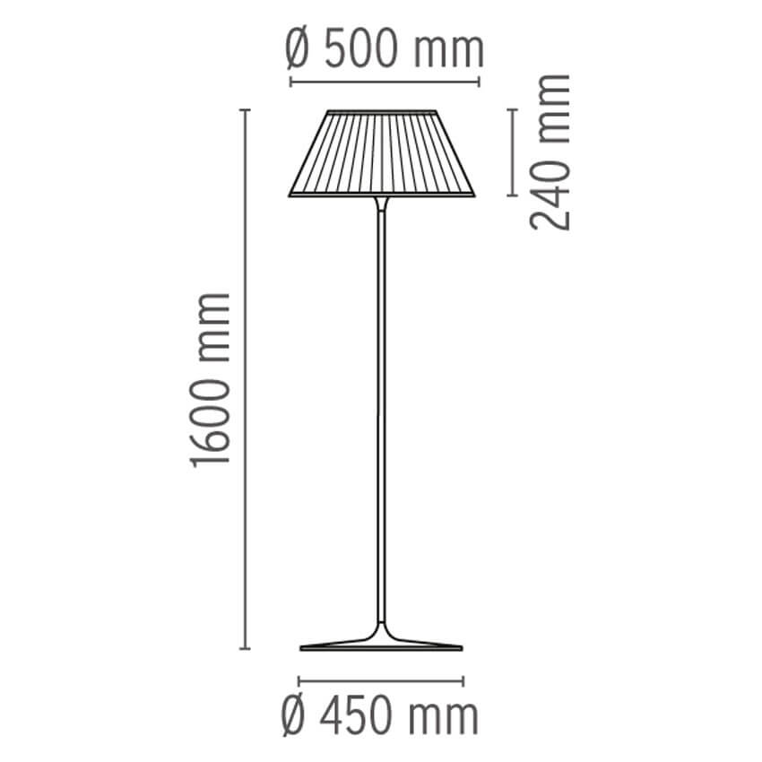 Dimensions od Flos ROMEO SOFT F floor lamp