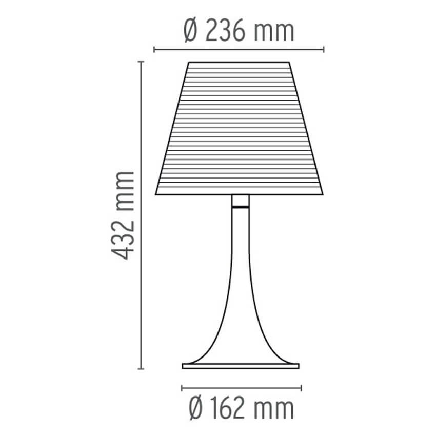 Dimensions od Flos MISS K table lamp
