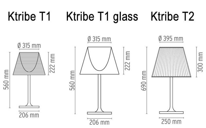 Dimensions od Flos KTRIBE T table lamp