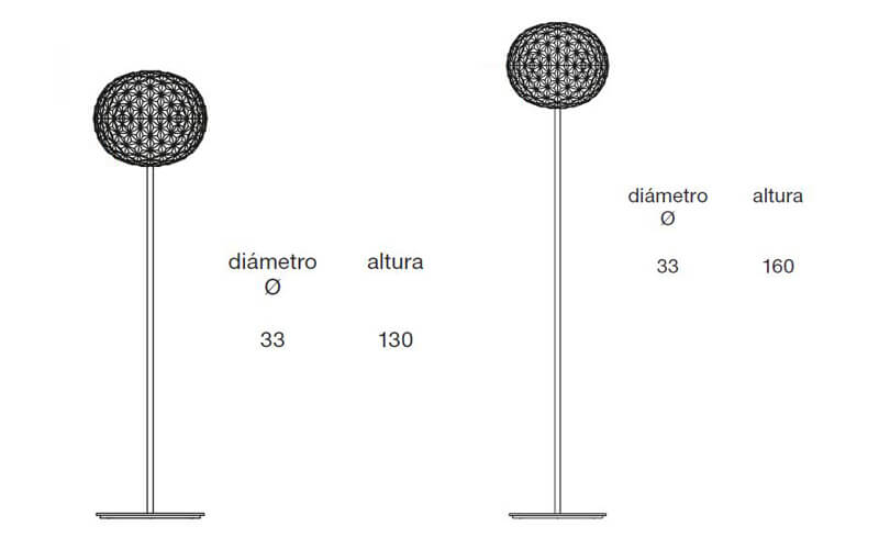 Dimensiones de Lámpara pie PLANET Kartell