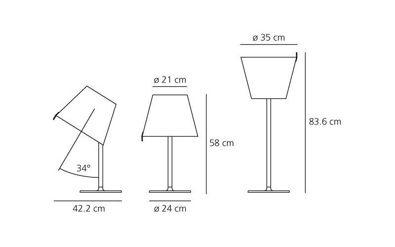 Dimensions od Artemide MELAMPO table lamp