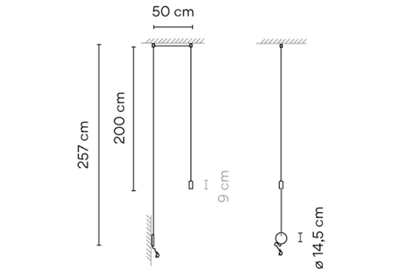 Dimensions od Vibia WIREFLOW FREEFORM 0347 hanging lamp
