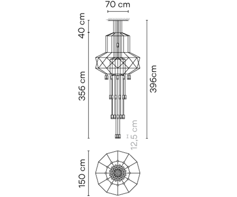 Dimensions od WIREFLOW CHANDELIER 0375 hanging lamp