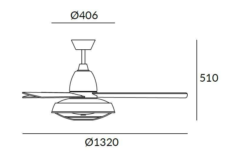 Dimensions od Leds C4 VINTAGE ceiling fan