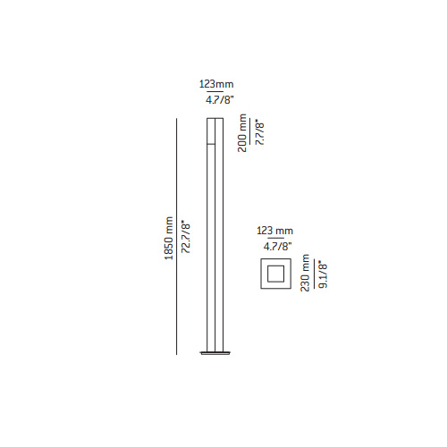 Dimensions od Estiluz DUO floor lamp